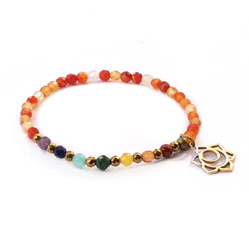 Sacral Chakra Delicate Bracelet, with Chakra Gemstones and Carnelian