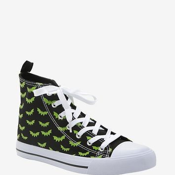 Black & Green Bat Print Hi-Top Sneakers