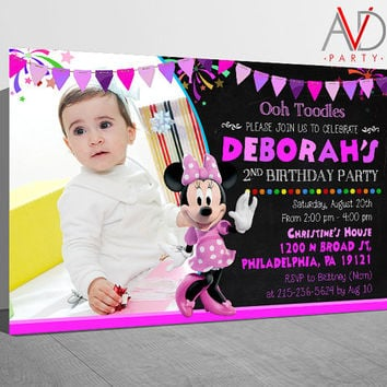 Minnie Mouse Birthday Invitation, Minnie Mouse Birthday, Minnie Mouse Invitation, Minnie Mouse Birthday Printable, Minnie Mouse Chalkboard