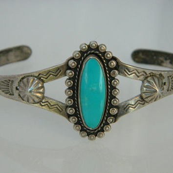 Native American Navajo Fred Harvey Era Natural Turquoise Sterling Arrow Bracelet 1950s