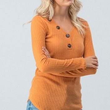 Ribbed Top with Button Detail - Mustard
