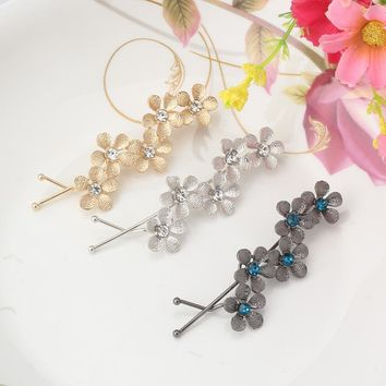 Metal Plum Flower Hair Accessories Hairpins Crystal Rhinestone Hair Ornaments Wave Hair clip Women Bride Wedding Hairgrips