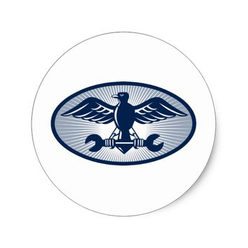 eagle spread wing carrying spanner classic round sticker