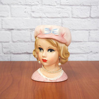 RELPO 6 Inch Mod Teen Head Vase Pink Cap and Dress Authentic Vintage Collectible #2012