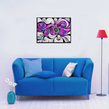 Purple Pink Psychedelic Tribal Art Wall Decor, Large Print Trippy Contemporary Modern Painting, Abstract Pop Art, Spiritual Yoga Wall Decor