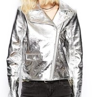 Religion Metallic Biker Leather Jacket With High Shine