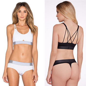Fashion Smooth No Trace Backless Crisscross Back Straps Vest T Underpant Yoga Sportswear Underwear Set Two-Piece