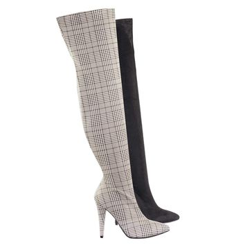 Magnolia08 Thigh High Over The Knee Boots Heel Pointed Heel Elastic Shaft