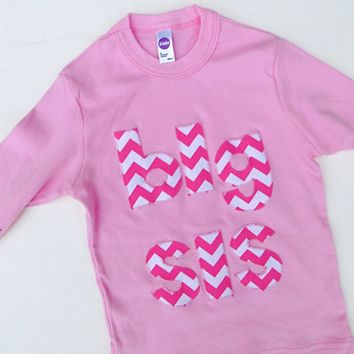 Chevron Pink Long Sleeve Big Sis Shirt or Big Bro or Lil Sis Availble