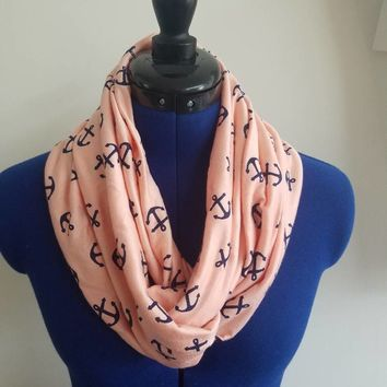 Anchor - anchors - hearts - nautical - soft - cotton - knit - fabric  - infinity - scarf - nursing - breastfeeding - scarf