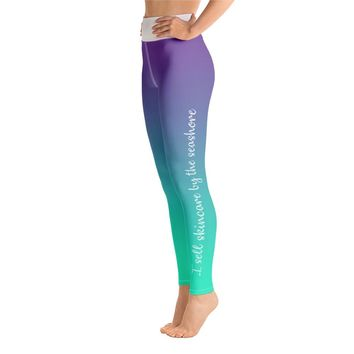 Yoga Pants - Purple / Teal Ombre - I Sell Skincare by the Seashore