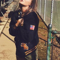 Free People Vintage 1970s Collar Letterman Jacket