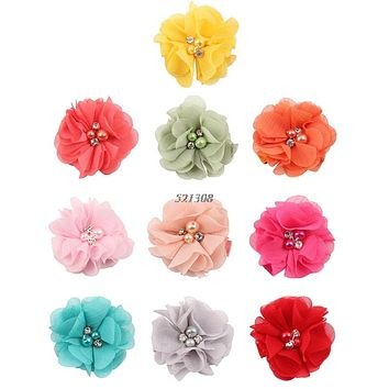 Baby Chiffon Flower Hair Clips Rhinestone Toddler Hairpins Girls Headdress