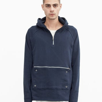 Front Zip Four-Tab Hoodie in Faded Navy