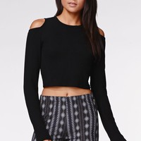 Kendall & Kylie Cropped Cold Shoulder Top - Womens Tee - Black