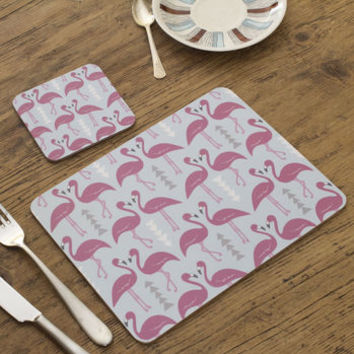 Pair Of Flamingo Flourish Placemats