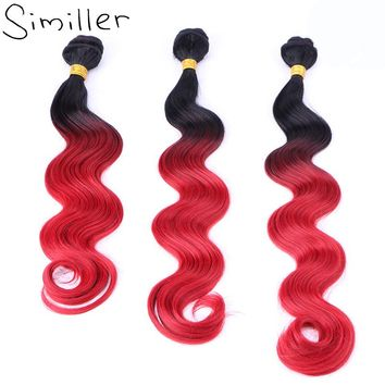 """Similler Blakc T Red Ombre Body Wave Synthetic Hair Weaving Double Weft Extensions Hairpieces 16"""" 18"""" 20"""" 210g 2 Tones Bundles"""