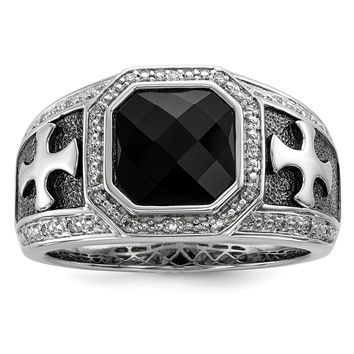 Sterling Silver Diamond & Onyx Black Rhodium-plated Cross Men's Ring