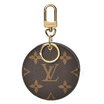 Fanewants / LV Louis Vuitton Fashion Trending Leather Key Pouch Round Small Key Wallet