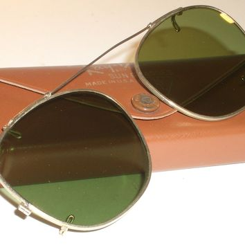 50mm VINTAGE B&L RAY BAN RB3 TRU GREEN GOLD PLATED CLIP-ONS SUNGLASSES