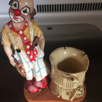 Sad Clown Figurine Statue Collectible Violin Candle Holder Vintage