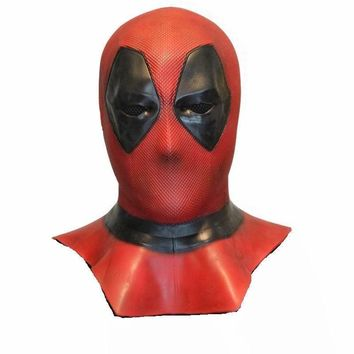 Cool Deadpool Mask Cosplay Costume Deadpool 2 Full Head Adult Latex Masks Handmade Movie Props Halloween Mask Fancy Party ToysAT_93_12