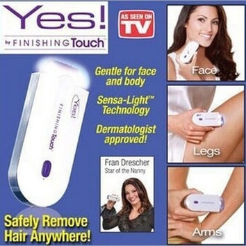 YES! Finishing Touch Women's Fashion Instant Pain Free Hair Remover Laser Hair Removal Safely Remove Hair for Face Body Health Beauty Tools (Color: White) [9305844231]