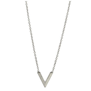 Tiny V Necklace in Silver