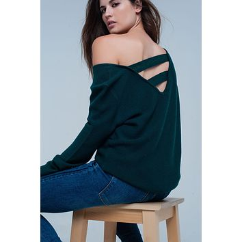 Green Sweater with Strappy Open Back