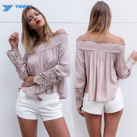2016 Summer new fashion women sexy  Off Shoulder Blouse Casual Lace long sleeve shirts khaki tops plus size