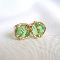 August Happy Birthday, Peridot Gold Filled Stud Earrings, Wire Wrapped Jewelry Handmade, Swarovski Green Earings, Birthday Gift for Her