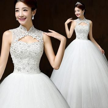 Real Photo Customizd 2016 New Autumn And Winter Wedding Dress Korean Style Simple Chinese High Wedding Gowns vestido de noiva QH