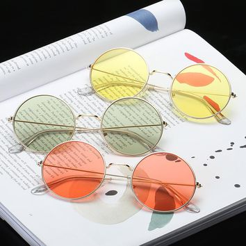 Sunglasses Women Vintage Round Ocean Color Lens Mirror Sunglasses Female Brand Design Metal Frame Circle Glasses Oculos UV400