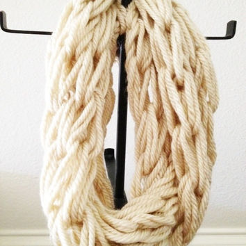 Ivory Scarf - Cream Scarf - Hand Knit Scarf - Infinity - Cowl - Crochet Scarf - Ladies - Womens Fashion Accessories