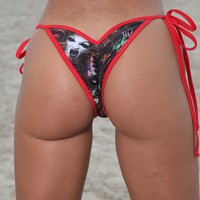 Halloween Scrunch Tie Side Bikini Bottom Stripper Clothing
