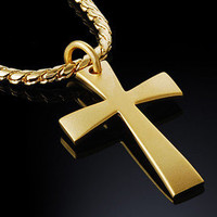 High Quality 18k Gold Nano Injection Plated Mens Cross Pendant Chain Necklace 23