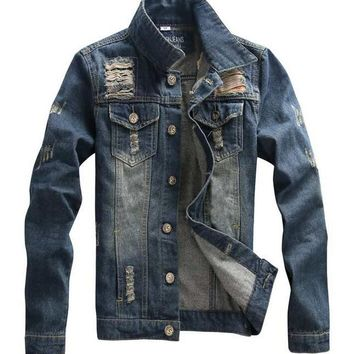 HEE GRAND Denim Distressed Jean Jacket