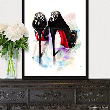 Christian Louboutin fashion print, Shoes fashion illustration poster, Wall art, Black and red heels art