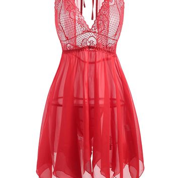 See-through Plus Size Handkerchief Babydoll Dress