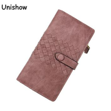 Unishow Vintage Weave Women Wallet Long Retro Purse Brand Designed Wallet Female Solid Causal Lady Purse Bag Zipper Coin Pocket