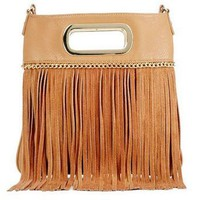 Vegan Leather and Suede Fringe Cross-body Gweneth Bag