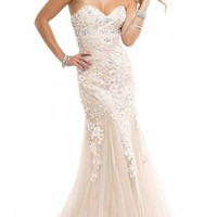 Miranda Ivory Evening Prom Ball Dress Strapless Long Lace Appliques Gown Size 4-14