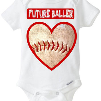 """Funny Baby Gift: Embellished Gerber Onesuit brand body suit - """"Future Baller"""" Baseball Heart Valentines Day Baby Shirt! Sports Baby!"""