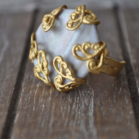 1 Piece Gold Plated Enamel Base Victorian Ring with Semi-Precious Stone, Jewelry Finding, Accessories