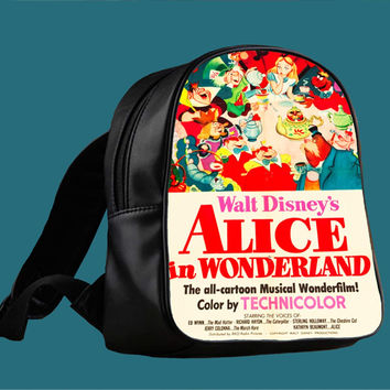 Vintage Disney Poster Alice In Wonderland Inspired for Backpack / Custom Bag / School Bag / Children Bag / Custom School Bag *