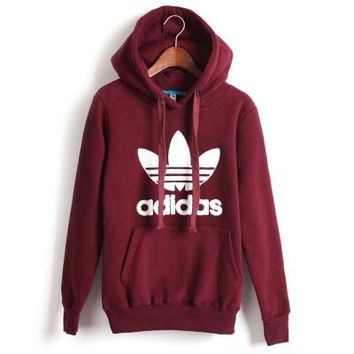 """Adidas"" Unisex Casual Clover Letter Print Couple Loose Long Sleeve Pullover Hooded Sweater Short Sweatshirt"