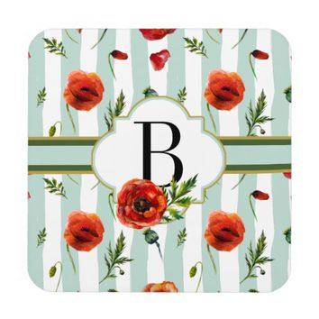 Chic Aqua and White Stripes Red Poppy Monogrammed Drink Coaster