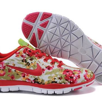 Women's Nike Free TR FIT 3 Flower Print Training Shoes Red/Green
