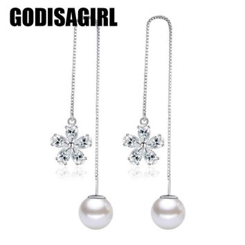 Simple Style Silver Color Long Line Earrings For Women Simulated Pearl Chain Dangle Earrings