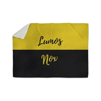 "Jackie Rose ""Turn On The Light"" Yellow Typography Sherpa Blanket"